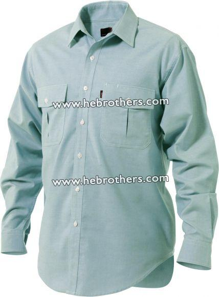Men Double Pocket Cotton-rich Oxford Weave Shirt (Long-sleeve)